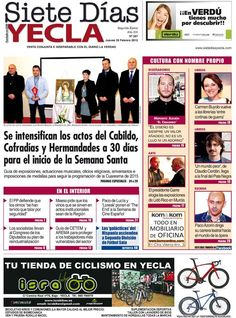 a esta disponible el periodico local Siete dias #Yecla en todas las librerias y estaciones de servicio de nuestra localidad