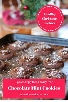Paleo Chocolate Peppermint Cookies - Egg Free #paleochristmascookies #chocolatemintcookies #healthychristmascookies #holidaycookies #paleovegancookies