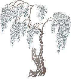 Tall Willow Tree Trees & Topiary Stencil Design from Stencil Kingdom