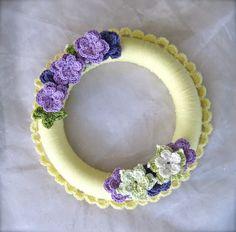 Lily crocheted wreath with crocheted flowers by TwigStudioArt, $45.00