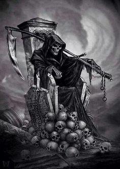 Throne of Grimm Reaper Death Reaper, Grim Reaper Art, Grim Reaper Tattoo, Don't Fear The Reaper, Grim Reaper Images, Evil Skull Tattoo, Skull Tattoo Design, Gothic Tattoo, La Santa Muerte Tattoo