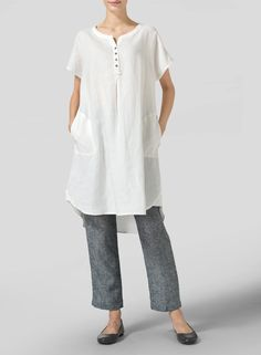 Soft White Linen Split Neck Long Tunics - A breezy shift in a straight cut short sleeves linen long tunics with a high-low hemline.