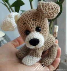 Crochet dog, free pattern.   Amigurumi, toys. ***Russian site, Google translate is dodgy.  Experienced toy crocheters can probably figure it out!  Too cute to ignore.