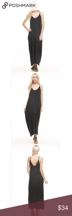 The Cher Dress Ankle Length Maxi V-Neck, Spagetti Strap Pockets Color: Black Material: 70% Rayon 30% Spandex Machine Wash *Price Firm Owl About Happy  Dresses
