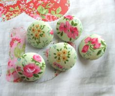 Handmade Fabric Buttons   Small Yellow Pink Green by RetroNaNa, $3.50