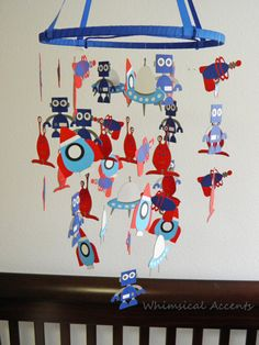 Robot, Rocket Ship, UFO, Laser Beam Gun and Alien Baby Mobile by whimsicalaccents on Etsy
