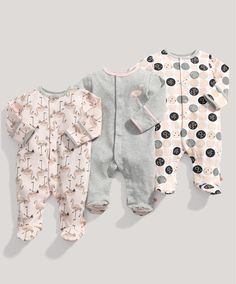 who can resist a flamingo? Girls Essentials 3 Pack of Flamingo All in Ones - Multipacks - Mamas & Papas Cute Baby Girl Outfits, Baby Outfits Newborn, Cute Baby Clothes, Kids Outfits, Pyjamas, Baby Girl Fashion, Kids Fashion, Baby Girl Pajamas, Toddler Pajamas