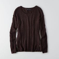 AEO Sedona Sweater ($18) ❤ liked on Polyvore featuring tops, sweaters, washed plum, cable sweater, black crew neck sweater, cable knit sweater, cable pullover and black pullover