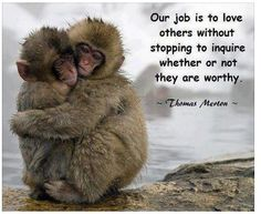 .Our job is to love others without stopping to inquire whether or not they are worthy. -Thomas Merton