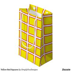 Yellow Red Squares Small Gift Bag