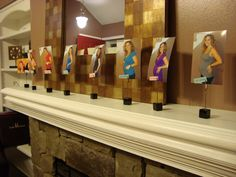 cute idea! photo timeline for decoration at a baby shower.