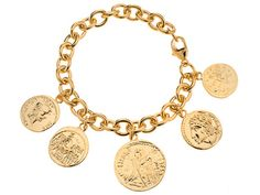 Moda Al Massimo(Tm) Rolo Chain With Coin Charm 18k Yellow Gold Over Bronze Bracelet Made In Italy