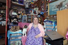 Christine Gregory in her prefab living-room, Excalibur Estate, 2013. In memory of hoarding cat lovers everywhere.