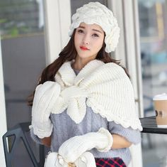Flower knit hat scarf and gloves set for girls winter wear