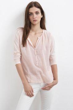 VELVET By Graham & Spencer Reese Sheer Half Placket Henley Top Blouse Pink $160 #VelvetbyGrahamSpencer #Blouse #Casual