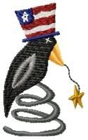 American Spiral Crow - 4x4 | 4th of July | Machine Embroidery Designs | SWAKembroidery.com HeartStrings Embroidery
