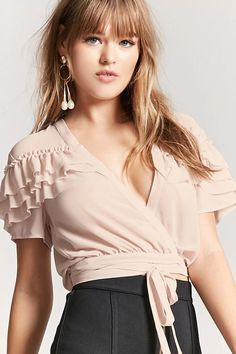 Product Name:Semi-Sheer Plunging Ruffle Top, Category:top_blouses, Price:19.9