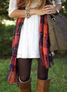 White dress, black opaque leggings, red plaid scarf