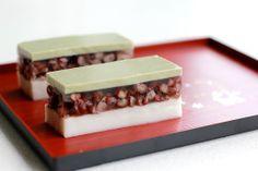 coconut azuki bean and matcha.  also see http://thewanderingeater.com/2014/03/07/coconut-adzuki-red-bean-matcha-green-tea-layered-jelly/