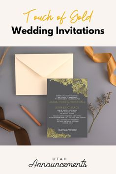 Elevate the look of your wedding invitation by adding a touch of gold. This is a designer's choice which utilizes gold lace patterns over a dark background to highlight the elegance of the gold color. Wedding Invitation Trends, Simple Wedding Invitations, Touch Of Gold, Bride Look, Gold Lace, Lace Patterns, One Design, Flourish, Swirls