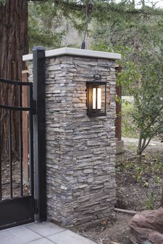 Main gate pillars design driveway columns pillar lights entrance front house gates and fences for home designs houses stone sale fence entry with steel ideas modern tops sandstone pictures of homes… Front Gates, Front Yard Fence, Entrance Gates, Fenced In Yard, Deer Fence, Horse Fence, Fence Art, Front Porch, Gate Lights