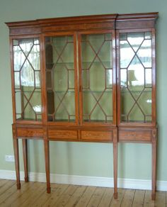 Edwardian Satinwood Breakfront Display Cabinet English Good Condition Circa 1900