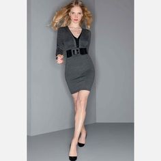 V-Neck Knit Dress Charcoal Black now featured on Fab.