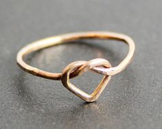 Heart Knot Ring 14K Gold Filled by sweetolivejewelry on Etsy