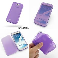 PDair Soft Plastic Case for Samsung Galaxy Note II GT-N7100 - With Cover Series (Purple)