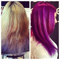 This was a big job, but the results were worth it! #purple #elumen #Before and #after #olaplex Bravo c_lab 12 team! Available at clab12.com