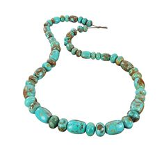 AMERICAN FOX TURQUOISE Beads Rondelles Barrels Deep Aqua Large from New World…