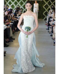 """See the """"Oscar de la Renta"""" in our Blue Wedding Dresses, Spring 2013 Bridal Fashion Week gallery Unique Wedding Gowns, Colored Wedding Dresses, Bridal Gowns, Lace Wedding, Dress Wedding, Wedding Pics, Floral Wedding, Wedding Trends, Wedding Styles"""