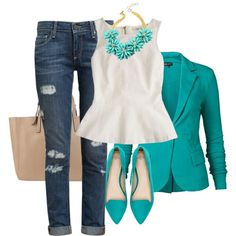 Stylish Blazer Outfit Ideas to Copy Now – Pouted Magazine Teal Outfits, Blazer Outfits, Spring Outfits, Casual Outfits, Cute Outfits, Turquoise Blazer, Turquoise Clothes, Teal Clothes, Look Fashion