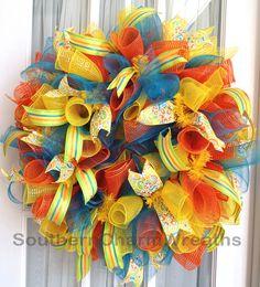 summer deco mesh wreath ideas | Curly Deco Mesh Summer Birthday Wreath Orange Yellow Turquoise