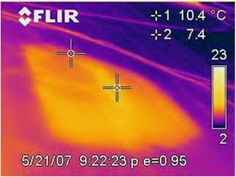 Pictured: Wet insulation (as seen in a thermal image)