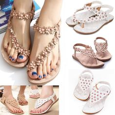 cc7e3589ed92 £7.19 GBP - Hot Women Boho Clip Toe Sandals Casual Fancy Summer Flats Beach  Shoes