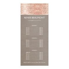 Elegant Faux Copper Sequins Salon Price List Menu Customized Rack Card. Great rackcard for beauty salons, cosmetologists, makeup artists, hair stylists, nail salons and more.