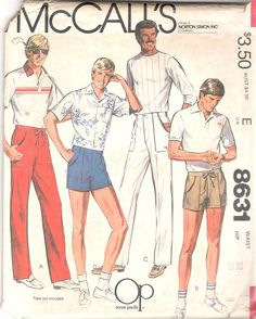 d2ff216c2bc1c McCalls 8631 1980s Mens Shorts and Pants Pattern Op by mbchills 1980s Mens  Fashion