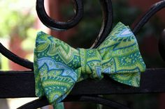 Lime and Blue Paisley Bow Tie. $38.00, via Etsy.