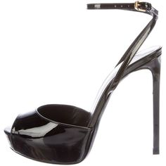 Pre-owned Saint Laurent Patent Leather Platform Sandals ($325) ❤ liked on Polyvore featuring shoes, sandals, black, black buckle sandals, patent leather sandals, platform shoes, patent sandals and black shoes