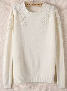 very feminine  White Long Sleeve Knit Floral Embellished Sweater 21.67