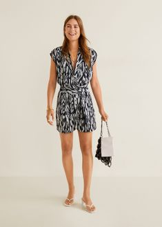 MANGO - Female - Bow wrap jumpsuit navy mango - Navy - S Wrap Jumpsuit, Short Jumpsuit, What To Wear Today, How To Wear, Mango Fashion, One Piece Suit, Jumpsuits For Women, Fashion Online, Jumper