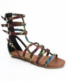 Amazon.com: City Classified Shobi Vegan Leather Mid Calf Open Toe Strappy Gladiator Sandals BLACK MULTI FABRIC (8): Shoes