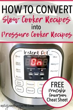 Wondering how to convert your favorite slow cooker recipes to pressure cooker recipes? With a few simple modifications, it's super easy to perform slow cooker to pressure cooker recipe conversion. Instant Pot Recipe Conversion Convert Pressure Cooker Re Slow Cooker Pressure Cooker, Crock Pot Slow Cooker, Instant Pot Pressure Cooker, Crock Pot Cooking, Cooking Steak, Cooking Turkey, Instant Cooker, Slower Cooker, Cooking Pumpkin