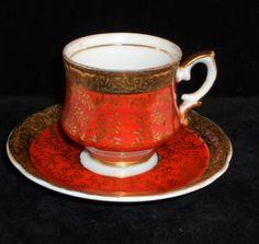 Red tea cup & saucer set