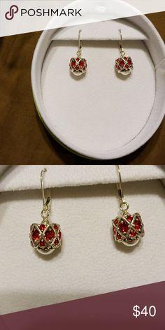 Chamilia Earrings Red small dangling earrings Chamilia Jewelry Earrings