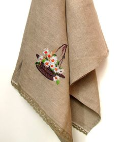Natural Linen Sauna Bath Towel with Lace and Embroidery, Handmade, Large size, Grey, 100% Pure Linen Guest Towel, Eco-friendly Gift by NaturalHomeTreasures, $39.00