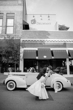 A classic wedding car from Memories In Motion Classics takes black and white pictures to a new level. Photo taken at the Del'avant in LaGrange, GA.  www.MemoriesInMotionClassics.com