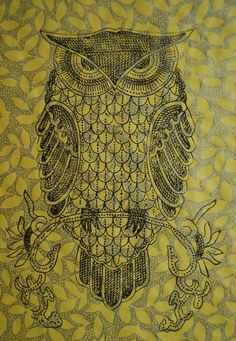 owl: inspiration for Zentangle birds (line on collage background...)