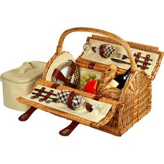 Picnic At Ascot Sussex Willow Picnic Basket With Service For 2 ($120) ❤ liked on Polyvore featuring home, kitchen & dining, food storage containers, brown, picnic tote, willow picnic basket, picnic hamper, picnic at ascot and picnic basket